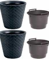 Set van 2x kunststof matuba rotan bloempotten plantenpotten antraciet 12 liter met binnenpot 8 liter