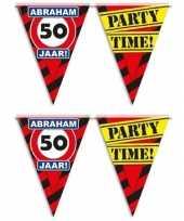 Set van 2x stuks abraham 50 jaar vlaggenlijnen waarschuwingsborden