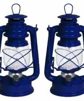 Set van 2x stuks blauwe stormlantaarns 24 cm van kunststof
