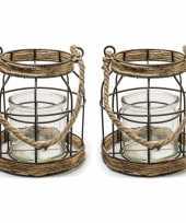 Set van 2x stuks metalen jute lantaarn kaarsenhouders 16 x 19 cm