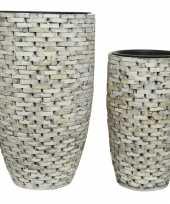 Set van 2x stuks whitewash plantenbakken van hout 43 en 52 cm