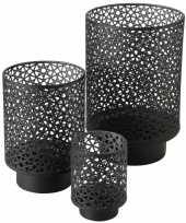 Set van 3x stuks windlichten zwart antraciet van metaal tussen de 13 en 27 cm