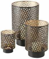 Set van 3x stuks windlichten zwart goud van metaal tussen de 13 en 27 cm