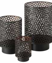 Set van 3x stuks windlichten zwart koper van metaal tussen de 13 en 27 cm