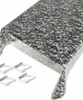 Stenen print tuin tafellaken voor buiten 140 x 245 cm pvc kunststof met aluminium klemmen