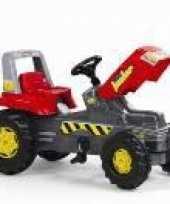 Tractor trapauto rood met 4 wielen buitenspeelgoed voor kinderen