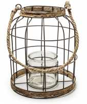 Transparante vaas vazen met metalen jute kooi 22 x 27 cm