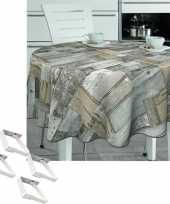 Tuin tafellaken voor buiten houten planken print 160 cm rond pvc textiel met aluminium klemmen