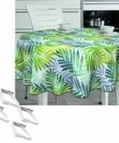 Tuin tafellaken voor buiten tropische palmbladeren print 160 cm rond pvc textiel met aluminium klemm