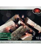 Vlamverlichting lichtsnoeren voor buiten 10 lampjes vlameffect