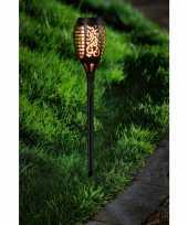 Voordeelset van 15x stuks tuinlamp solar fakkel tuinverlichting met vlam effect 48 5 cm
