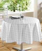 Wit grijs tuin tafellaken voor buiten grafische print 160 cm pvc kunststof