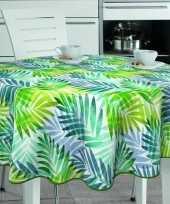 Wit groen tuin tafellaken voor buiten palm print 160 cm pvc kunststof