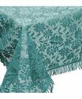 Zeeblauwe tuin tafellaken voor buiten 140 x 180 cm rechthoekig van kunststof