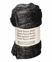 Zwart fleece plaid dekentje zilveren glitters 150 x 200 cm