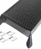 Zwart tuin tafellaken voor buiten polkadot print 140 x 170 cm pvc kunststof met aluminium klemmen