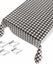 Zwart tuin tafellaken voor buiten ruiten print 140 x 170 cm pvc kunststof met aluminium klemmen