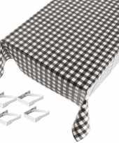 Zwart tuin tafellaken voor buiten ruiten print 140 x 240 cm pvc kunststof met aluminium klemmen